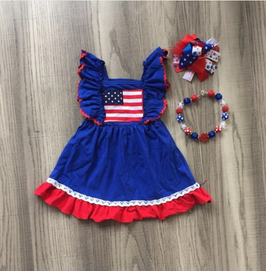 Flutter Sleeve American Flag Blue and Red Dress 3-Piece Set - ARIA KIDS
