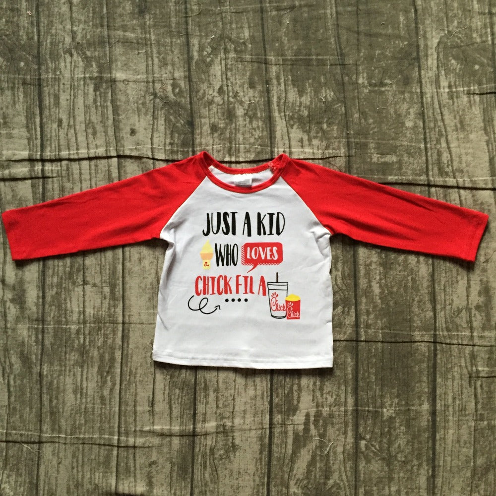 Just a Kid who Loves a Chick Fila Unisex Raglan Shirt - ARIA KIDS