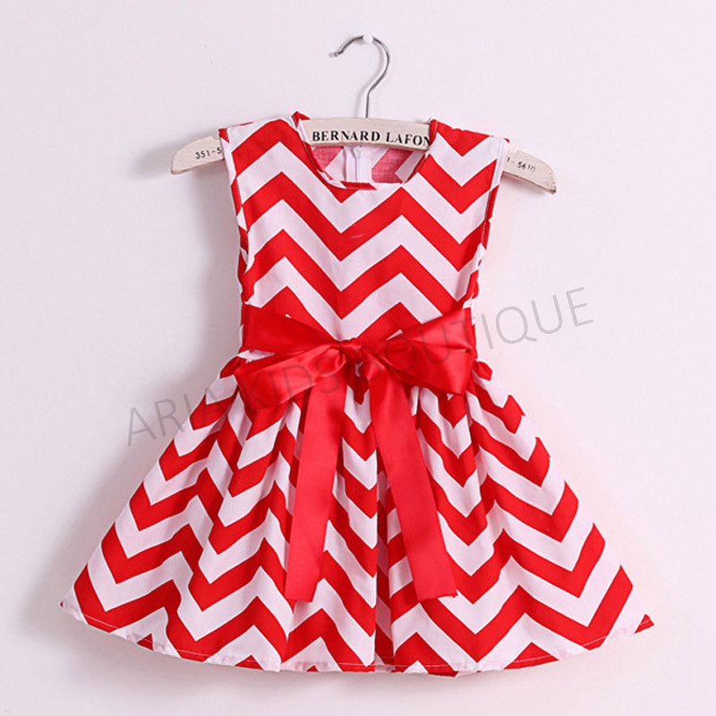 Chevron A-line Dress with Bow Tie - 3 Colors - ARIA KIDS