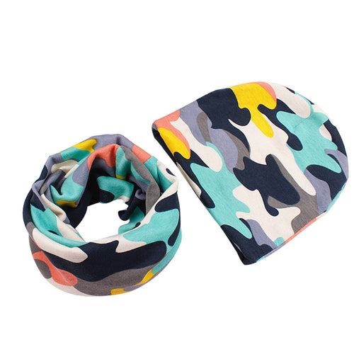Camouflage Army - Beanie and Scarf Set - 2 Colors - ARIA KIDS