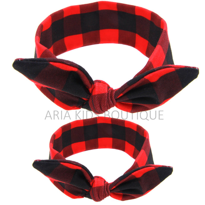 Mommy & Me Matching Headband Buffalo checks - 2 PC Set - ARIA KIDS