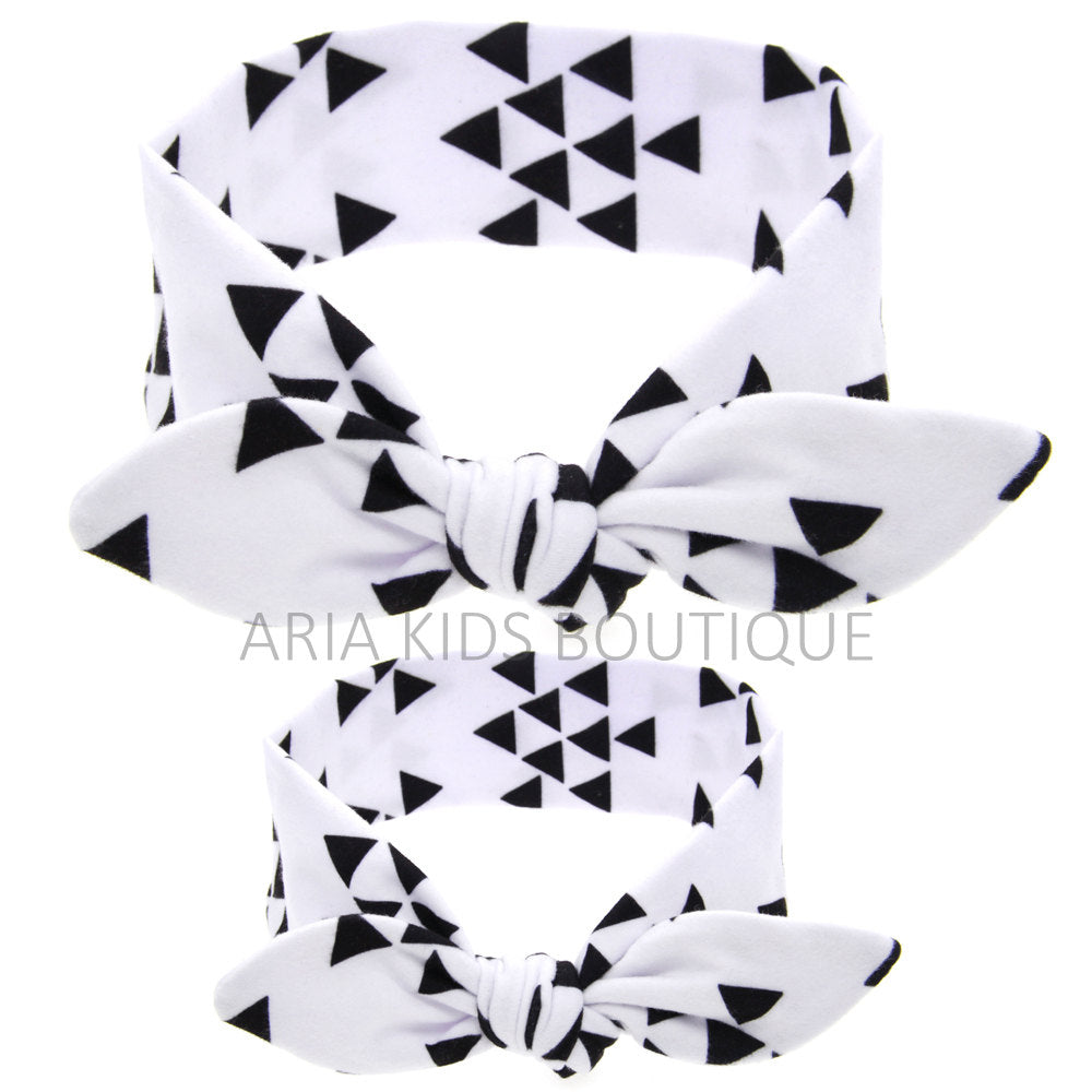W/B GEOMETRIC - Mommy and Me Tie Knot Headwrap 2 Pc/Gift set - ARIA KIDS