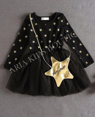 Starry Nite Tutu Dress & Gold Bag 2-Pc Set - ARIA KIDS
