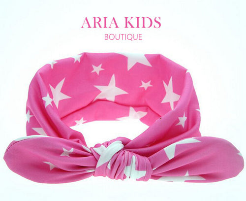 Star Print- Pink & White Headband - ARIA KIDS
