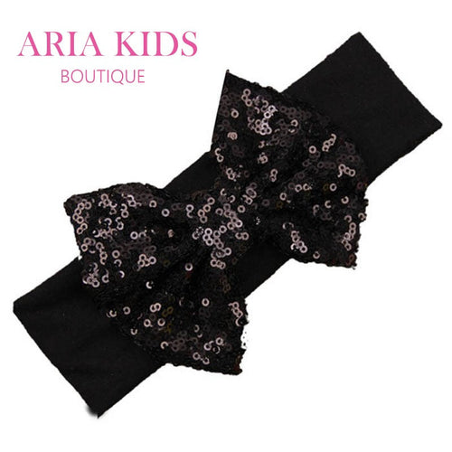Black/Black Baby Sequin Bow Headband - ARIA KIDS