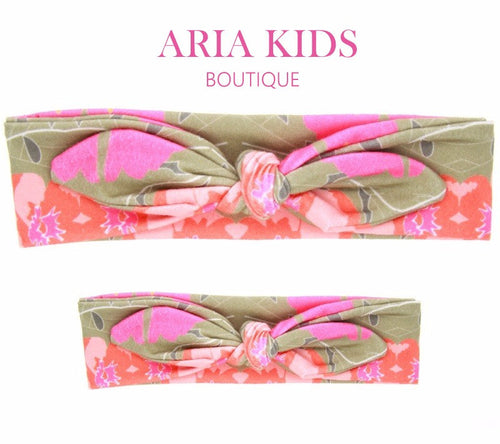 Pink/Orange - Mommy and Me Headband 2-Pc Gift Set - ARIA KIDS