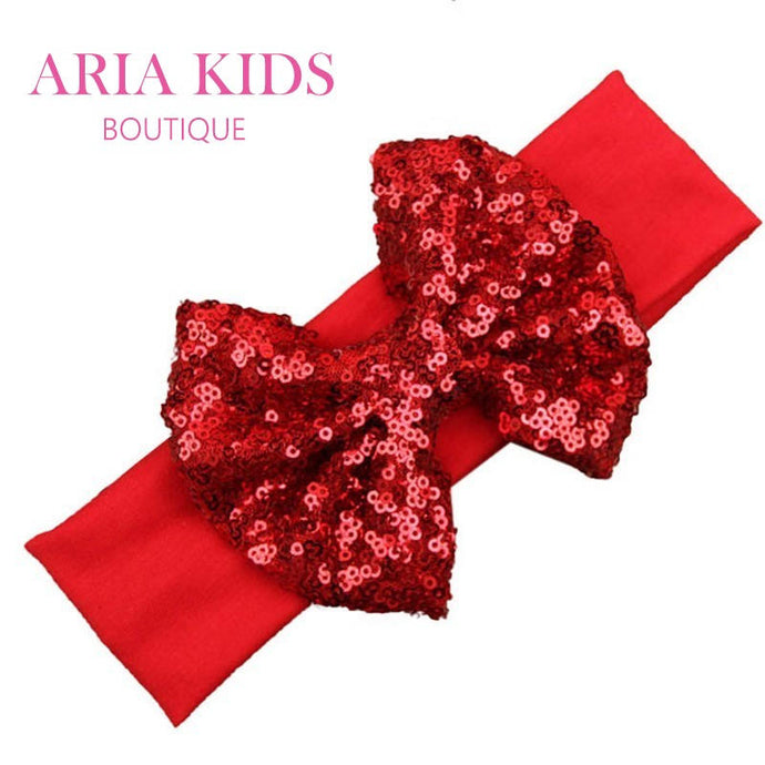 Red Sequin Bow Headband - ARIA KIDS