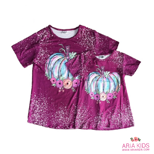 Mommy & Me Plum Tie Dye Floral Pumpkin Shirt - ARIA KIDS
