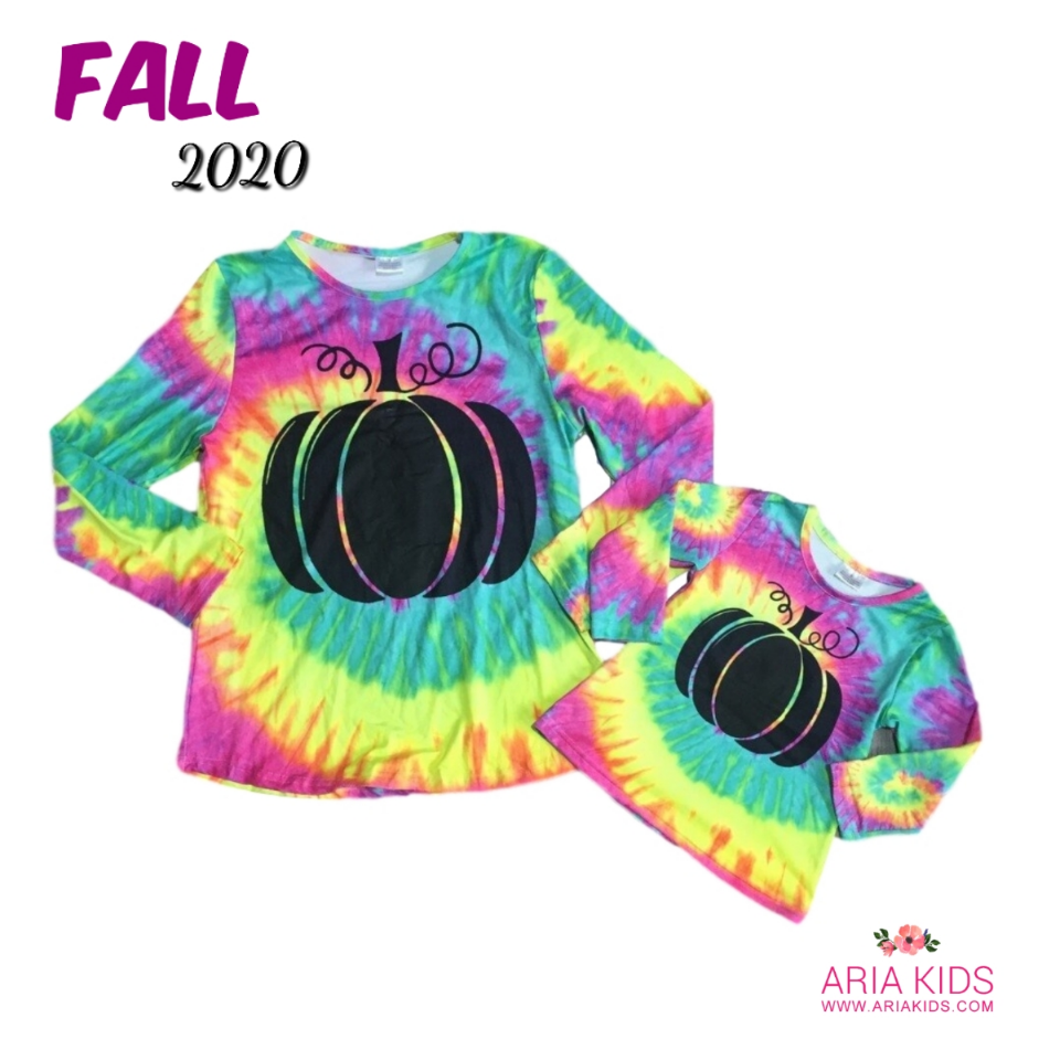 Mommy & Me Tie Dye Pumpkin Shirt - ARIA KIDS