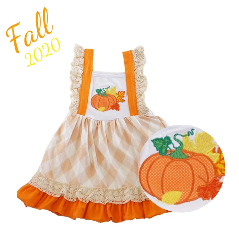 Orange Plaid Embroidered Pumpkin Dress - ARIA KIDS