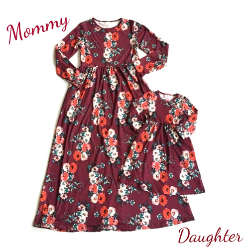 Burgundy Floral Mommy and Me Mother Daughter Dress - ARIA KIDS