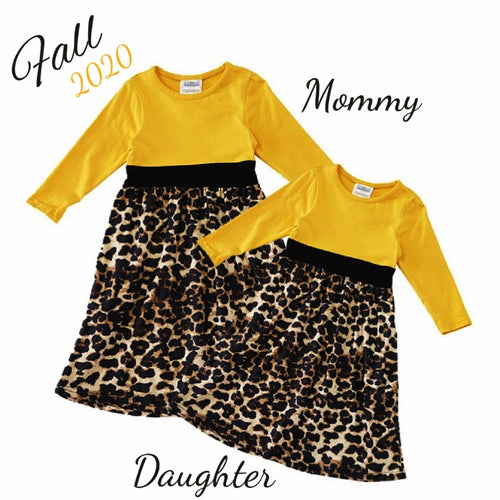 Zara Mommy and Me Dress - Leopard & Mustard Yellow - ARIA KIDS