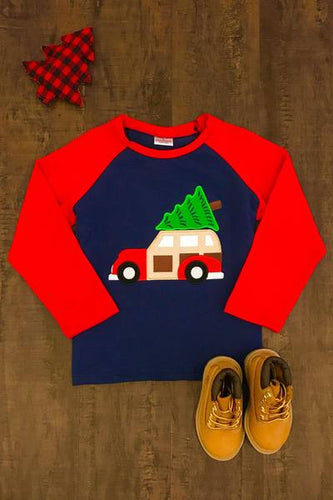 Christmas Tree Truck Unisex Raglan Shirt - Red/Navy - ARIA KIDS