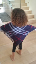 NAVY - ARIANA Toddler Girl Round Neck Plaid Poncho - ARIA KIDS