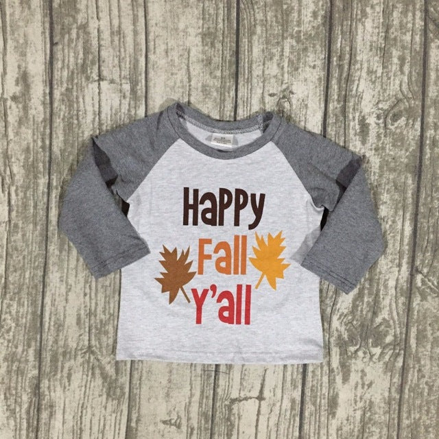 Happy Fall Y'all Boys Raglan Shirt - ARIA KIDS