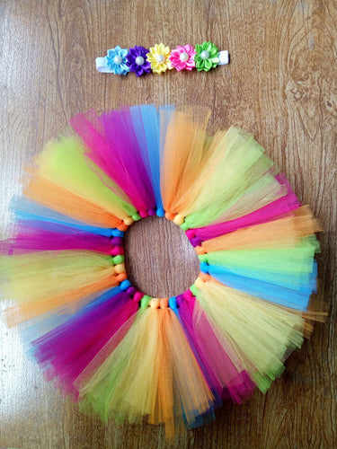 Newborn Rainbow Tutu Skirt and Headband Set - Photo Prop - ARIA KIDS