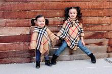 CAMEL BROWN - ARIANA Toddler Girl Round Neck Plaid Poncho - ARIA KIDS