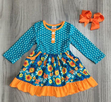 "Jade/Orange Polka Dot Floral Ruffle Dress with 5"" Hair Bow - ARIA KIDS"