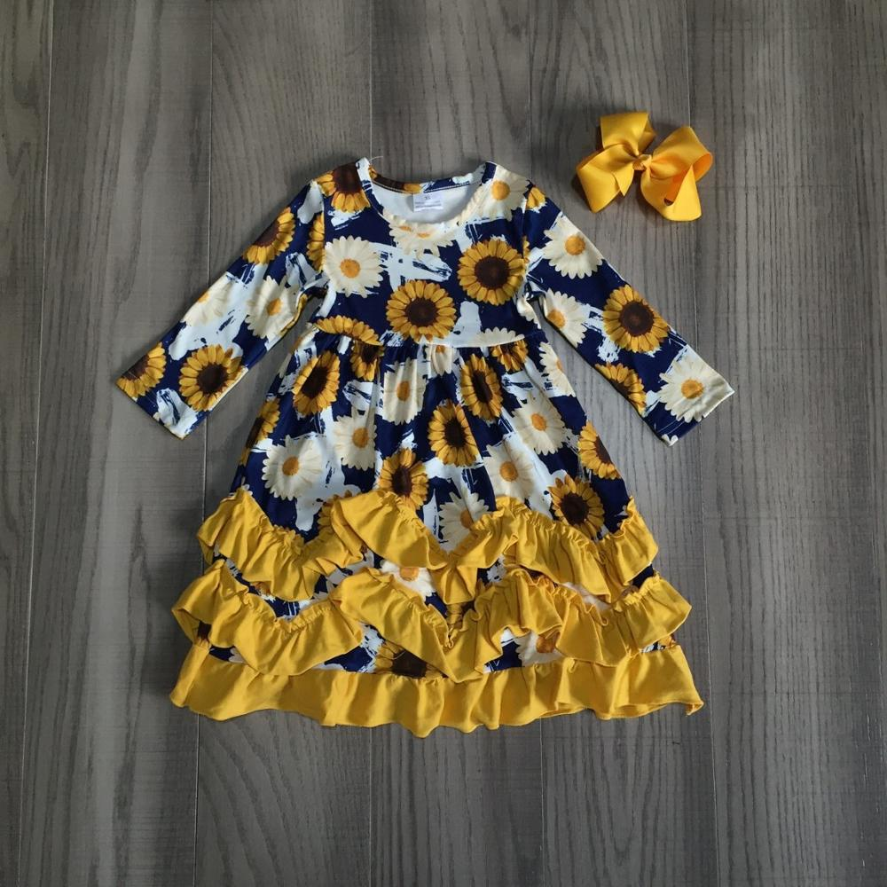 Sunflower Mustard Ruffle Dress - ARIA KIDS