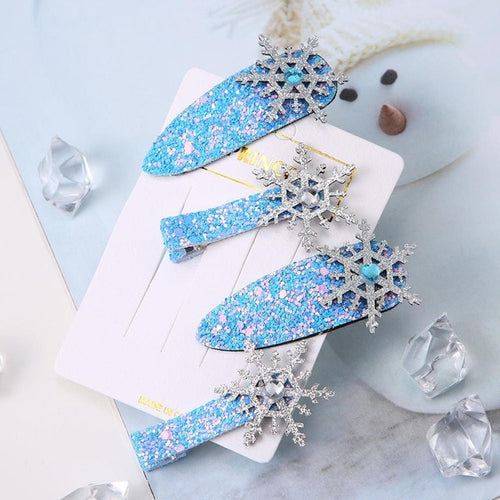 Frozen Inspired Snowflake Hair Clips - 4-Piece Gift Set - ARIA KIDS