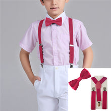 Y-Back Adjustable Elastic Boys Suspenders Bow Tie 2-PC Set - ARIA KIDS