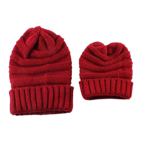 SET OF 2 - Mommy and Me Matching Beanie Hats Cap - 8 Colors - ARIA KIDS