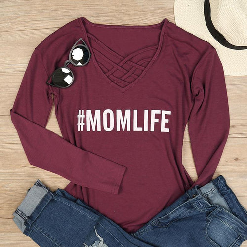 Mom Life Criss-Cross V Neck Solid Plum Long Sleeve Tee - ARIA KIDS