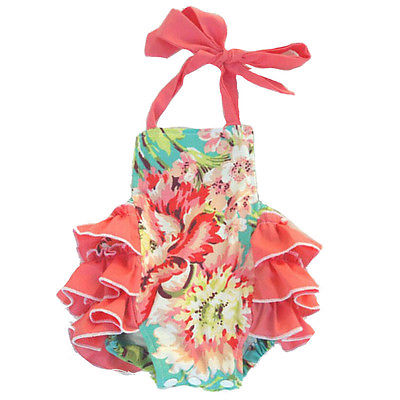 Coral Floral Ruffled Baby Romper - ARIA KIDS