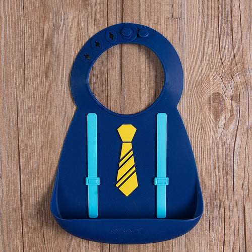 Suspender Tie Boys Waterproof Silicone Bibs - ARIA KIDS