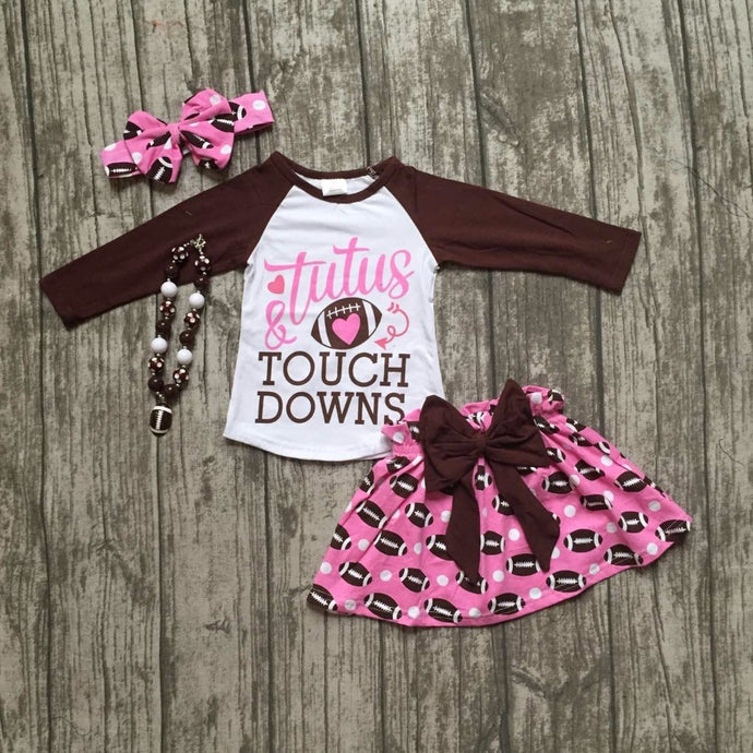 Tutus & Touch Downs Football Shirt & Skirt 4-Piece Set with Accessories - ARIA KIDS