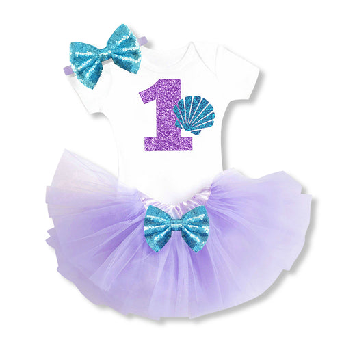 Under The Sea Little Mermaid 1st Tutu Outfit - 3 Piece Set - ARIA KIDS
