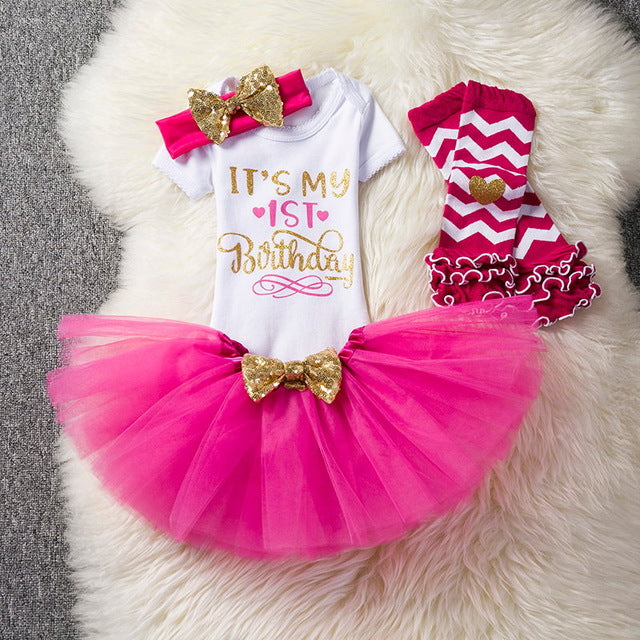 1st Birthday Outfit Romper Tutu Leg Warmer 4 Pc Set - ARIA KIDS