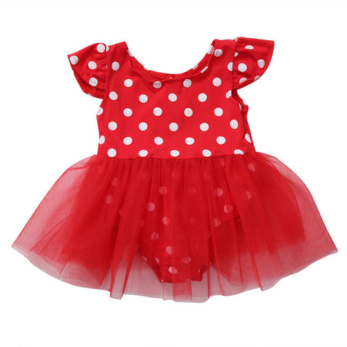 Minnie Inspired Polka Dot Flutter Sleeve Romper Tutu Dress - ARIA KIDS