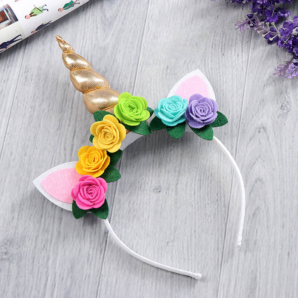 Gold Unicorn Rainbow Floral Hairband - ARIA KIDS