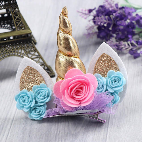 Gold Unicorn Floral Hair Clip - ARIA KIDS