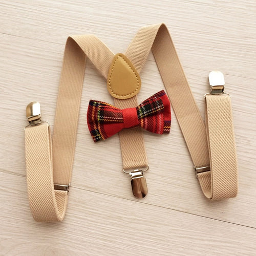Khaki/Red Tartan Boys Adjustable Suspenders Bow Tie 2-Piece Set - ARIA KIDS