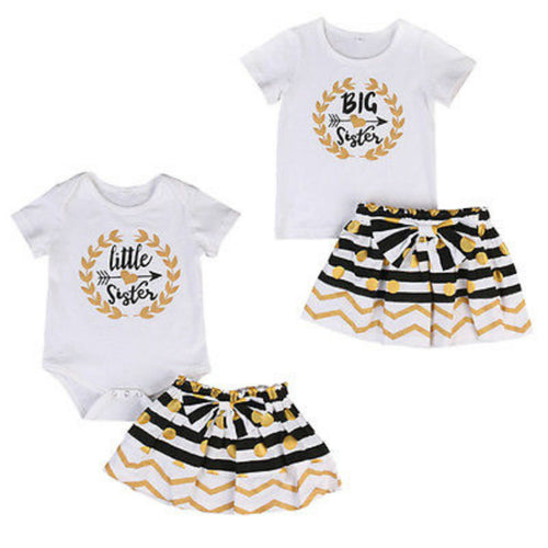 Arrows - Big Sister Shirt Little Sister Romper Skirt Sibling outfit, 2-Pc Set - ARIA KIDS