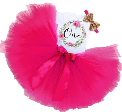 Floral Wreath 1st Birthday Tutu Outfit - 4 Colors - ARIA KIDS
