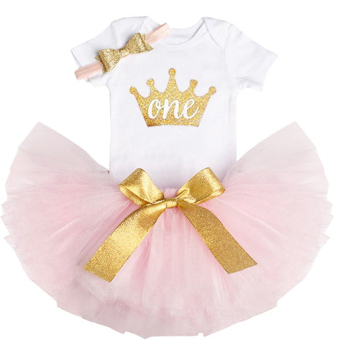 Princess Crown ONE - 1st Birthday Party Baby Girl Tutu Cake Smash Outfits 3-Pc Set - ARIA KIDS