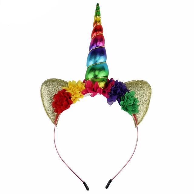 Rainbow Unicorn Floral Headband with Gold Glitter - ARIA KIDS