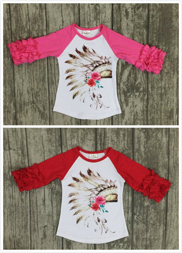 Indian Feather Ruffled Raglans Icing half sleeve - Red & Hot pink - ARIA KIDS