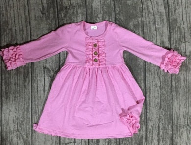 Bethany Ruffled Long Sleeve Cotton Dress - ARIA KIDS