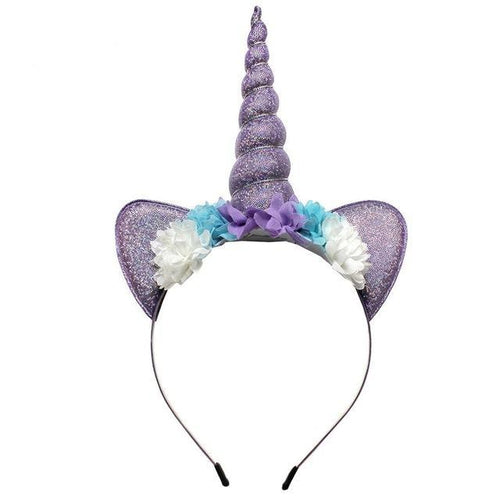 Violet Unicorn Party Floral Headband with Glitter Ears - ARIA KIDS