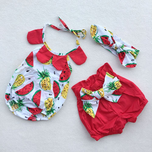 Watermelon Pineapple Summer 3-Piece Romper Bloomer Outfit - ARIA KIDS