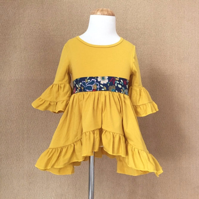 Hannah Ruffled Bell Sleeved Tunic Fall Dress in Mustard - ARIA KIDS