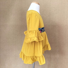 Hanna Ruffled Bell Sleeved Tunic Fall Dress in Mustard - ARIA KIDS