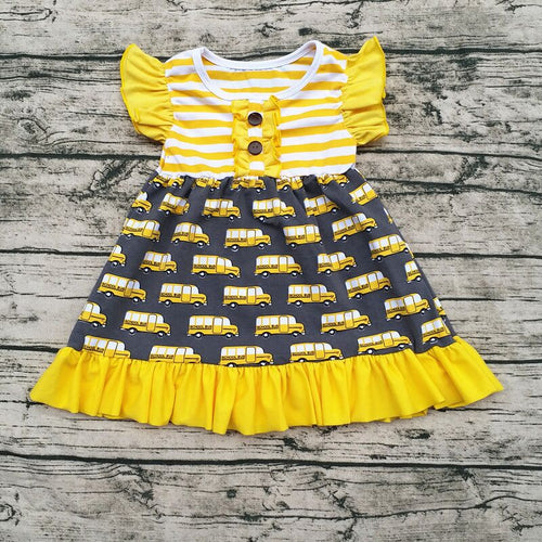 Car Flutter Sleeves Ruffled Yellow Striped Dress - ARIA KIDS