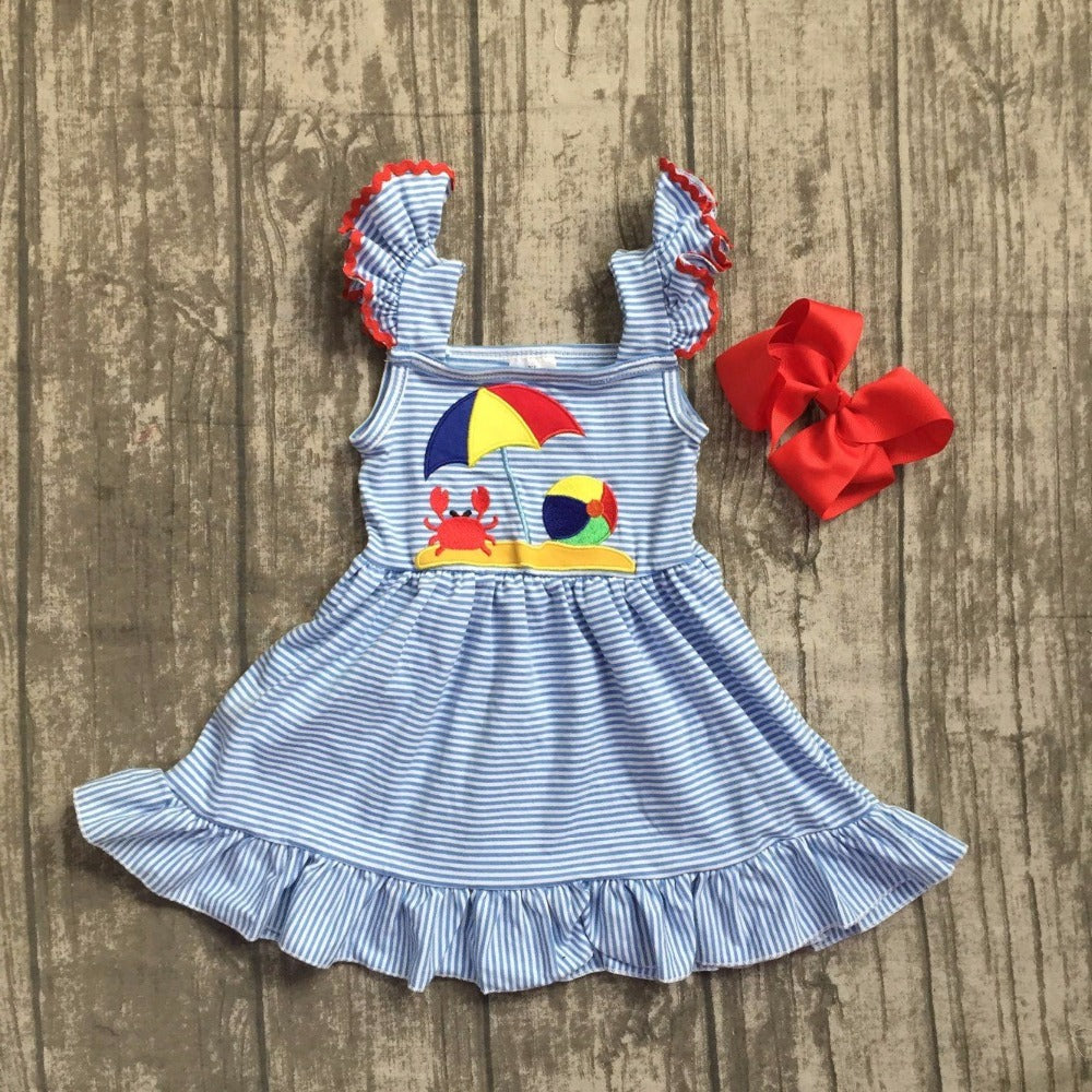 Summer Beach Dress with Hair Bow Clip - ARIA KIDS