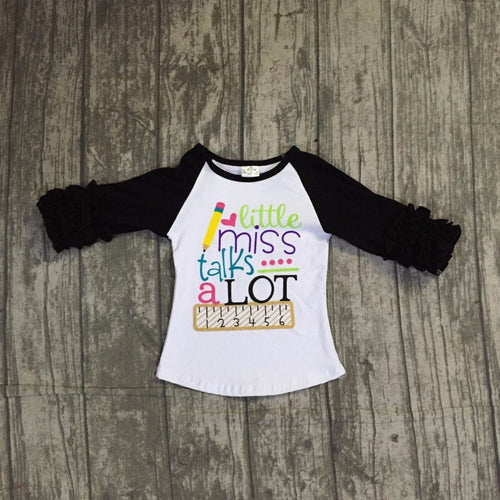 Little Miss Talks a Lot Raglans Icing Ruffled Shirt - Back to School - ARIA KIDS