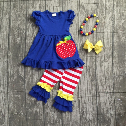 Apple Striped Blue and Red Capri 4- Piece Set - ARIA KIDS